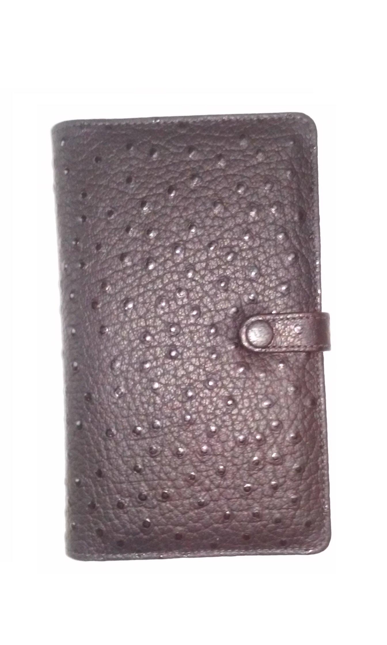 DayRunner 04231 Personal Organizer Ostrich Leather 3 1/4'' x 6 /8'' Black