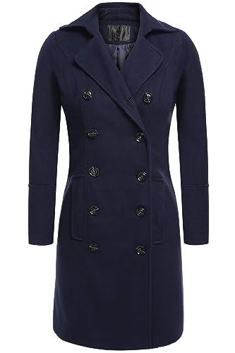 Befied Abrigo clásico de lana con cuello solapa y manga larga para mujeres chaqueta corta para invie...