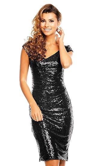 Pailettenkleid Damen kleid Silvester Cocktailkleid Schwarz kurz Abendkleid Party