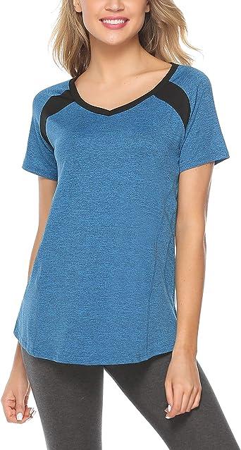 iClosam Camiseta De Mujer Verano Deportiva Colores Lisos Fitness Transpirable Sueltos Gimnasio Ropa Algodon De Mujers: Amazon.es: Ropa y accesorios
