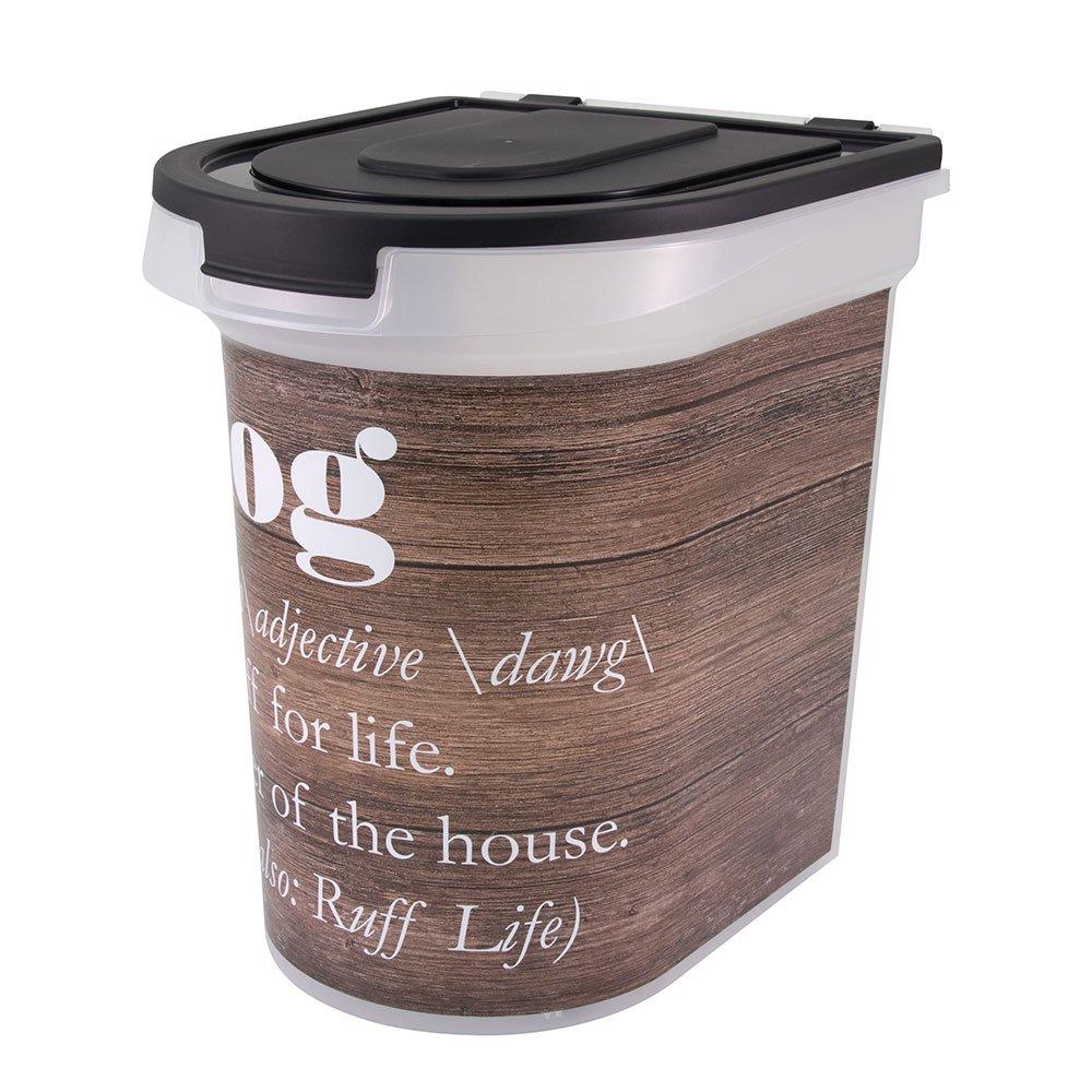 Paw Prints Wood Grain Plastic Rolling Pet Food Bin, 26lb
