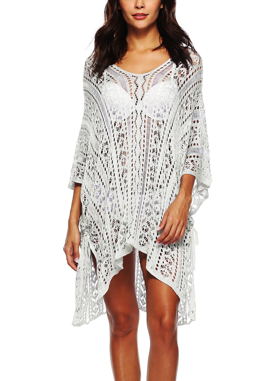 DearQ Beach Swimsuit for Women Poncho Sleeve Coverups Plus Size Bikini Cover up Net White