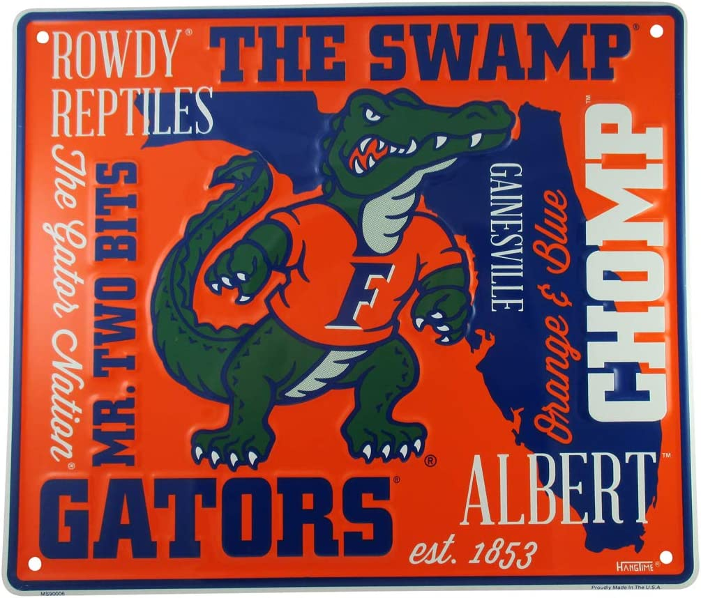 HangTime University of Florida Sign, 14 by 12 Inch Metal Wall Art, Gators Room Decor, Dorm Room Gifts for Gator Football Fan, Decorations for Man Cave
