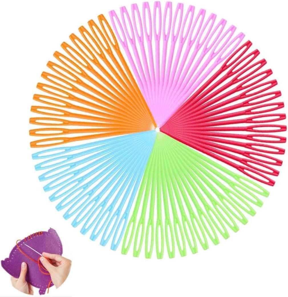 Aguja de Coser de Pl/ástico,100 Piezas Agujas de Coser de Mano de Pl/ástico Multicolor para Ni/ños Proyectos de Manualidades y Agujas 9cm