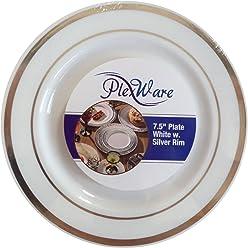 200 Pc Elegant Silver Rim w//Ridges Disposable Plates for Weddings Birthdays