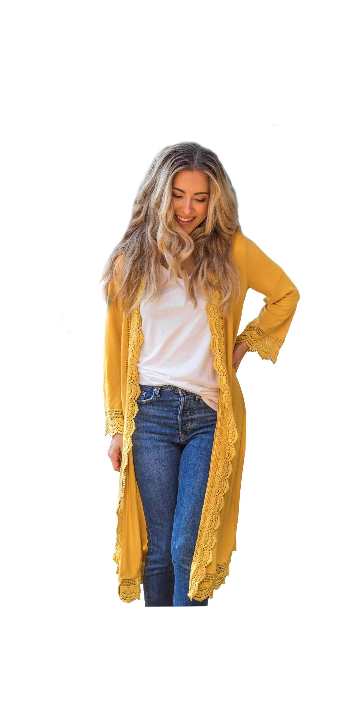 Women's / Sleeve Lace Trim Casual Wrap Cardigan
