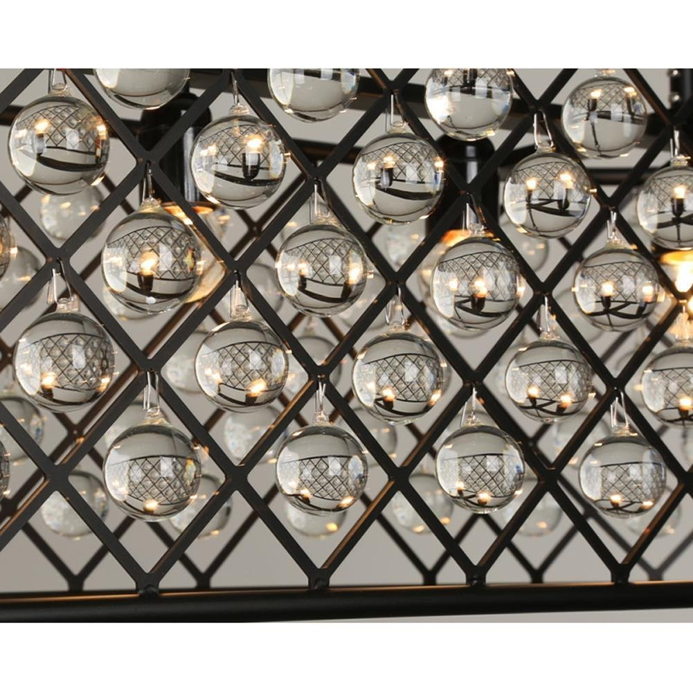 Perfectshow 6-light Spencer Rectangle Chandelier Ball Shade Glass 41-inche Island Pendant Metal Black by Perfectshow (Image #2)