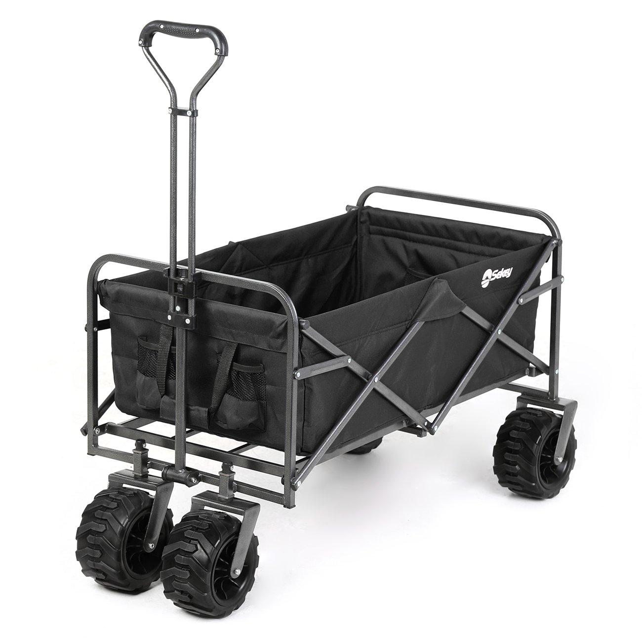 Sekey Folding Wagon Cart Collapsible Outdoor Utility Wagon Heavy Duty Beach Wagon with All-Terrain Wheels, 265 Pound Capacity, Black by Sekey