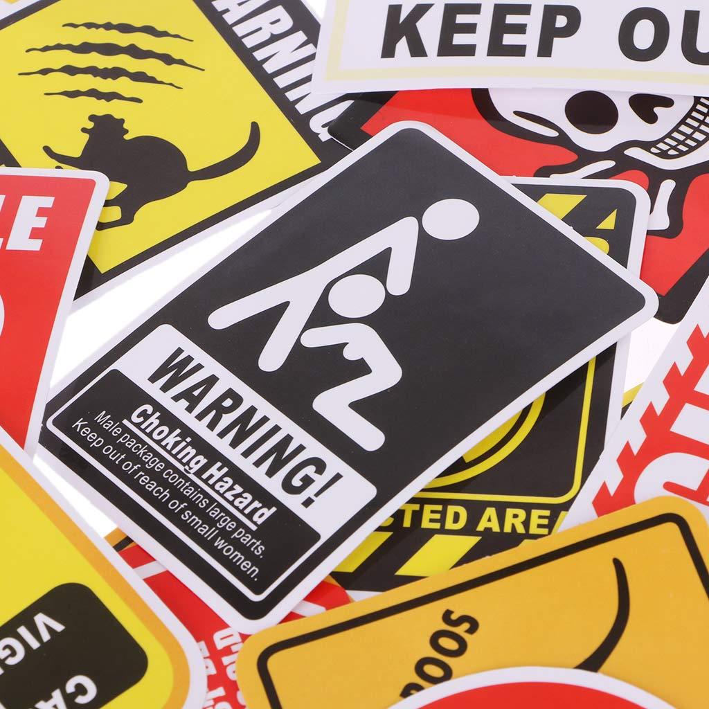 Yuanshenortey 50 Unids Signos Pegatinas Peligro Advertencia Prohibici/ón Recordatorio Decoraci/ón Pegatina Para DIY Coche Laptop Motocicleta Maleta Nevera Guitarra Cuaderno