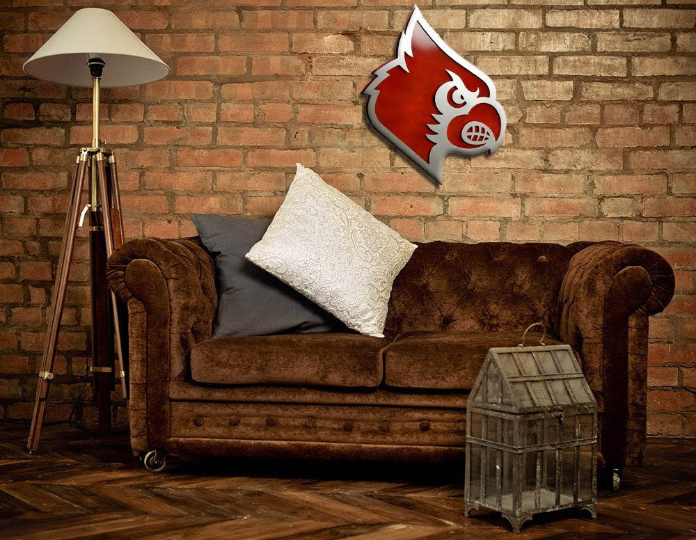 Gear New University of Louisville Cardinal Head 3D Vintage Metal College Man Cave Art, Large, Silver/White/Red