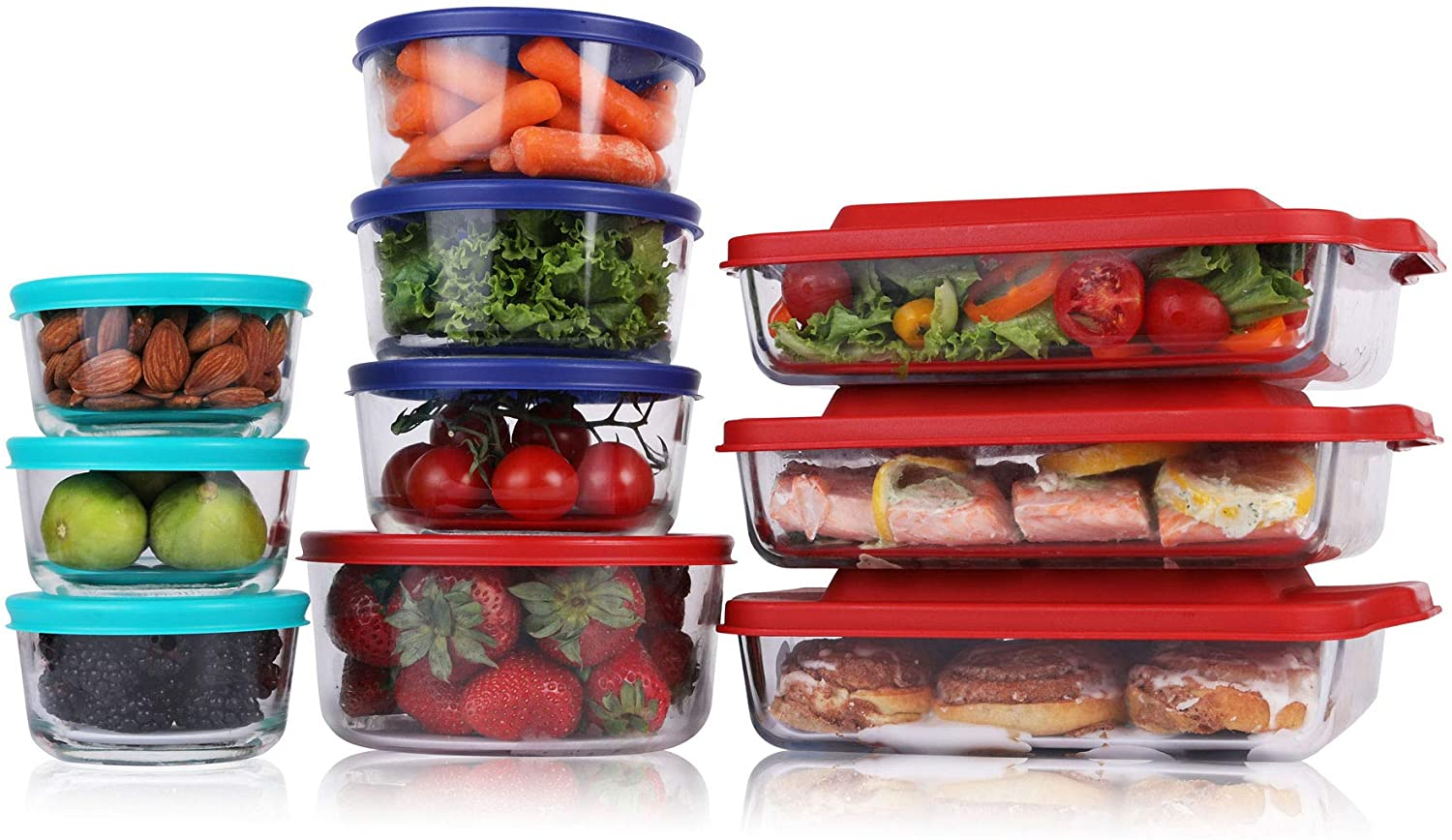 Bovado USA Meal Prep Glass Food Storage Containers (20-Piece Set, BPA Free Lids, Oven Safe)