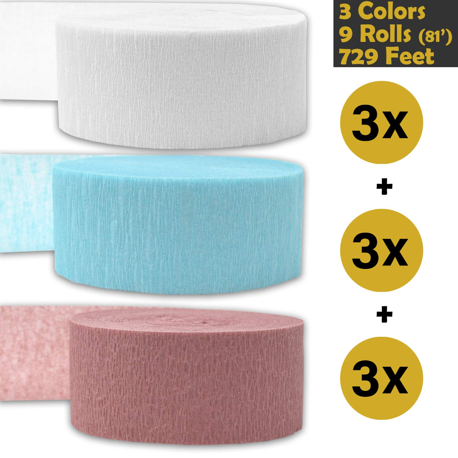 243 per color English Rose 9 rolls Bleed Resistant White 739 ft Flame Resistant Crepe Party Streamers - For party Decorations and Crafts Ice Blue 3 rolls per color, 81 foot each roll Made in USA 3 Colors