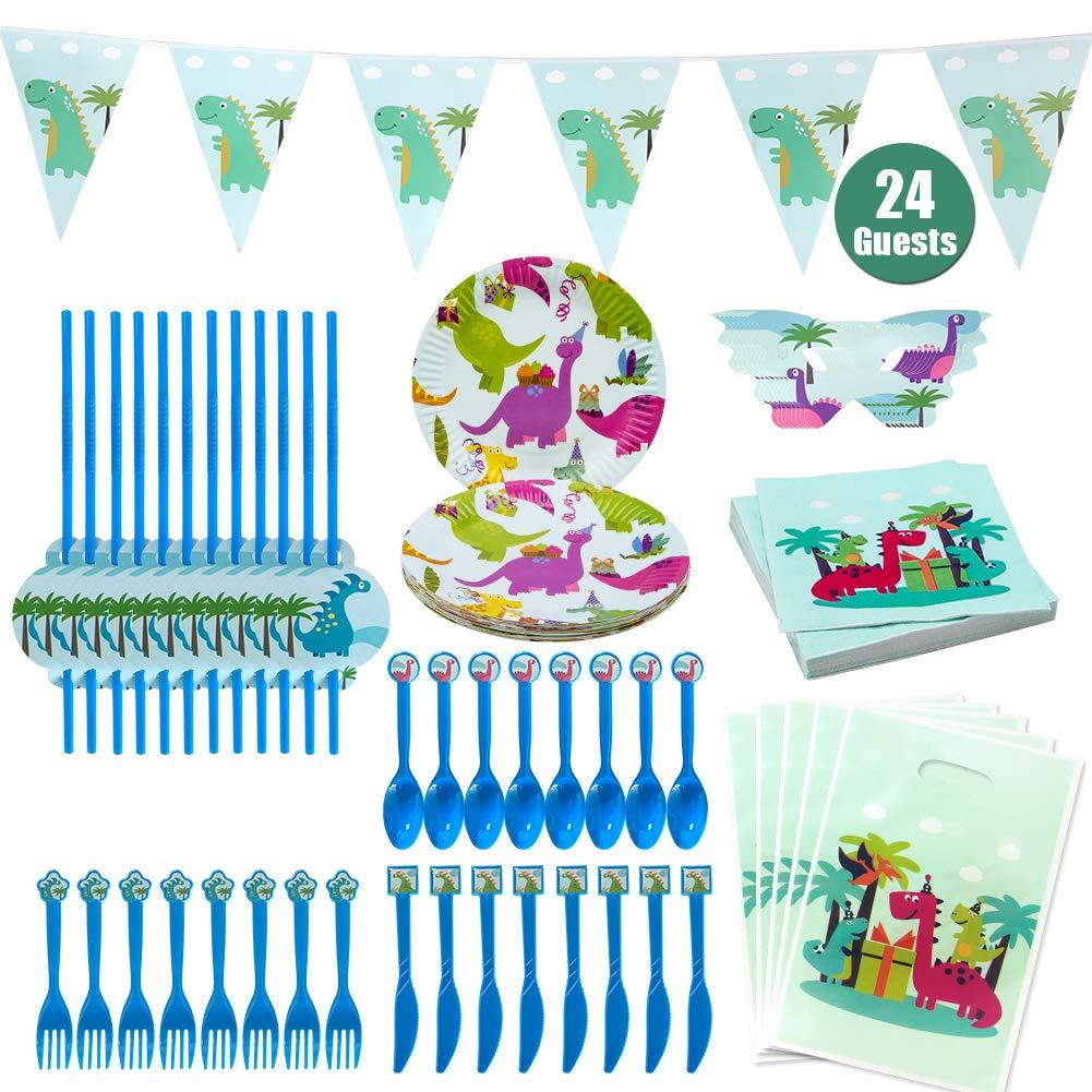 Hangnuo Dinosaur partito forniture favori bambini compleanno-serve 24 ospiti Dino stoviglie Pack piatti, cucchiai, forchette, coltelli, paglia, saccheggio sacchetti, tovaglioli, maschere, striscioni...