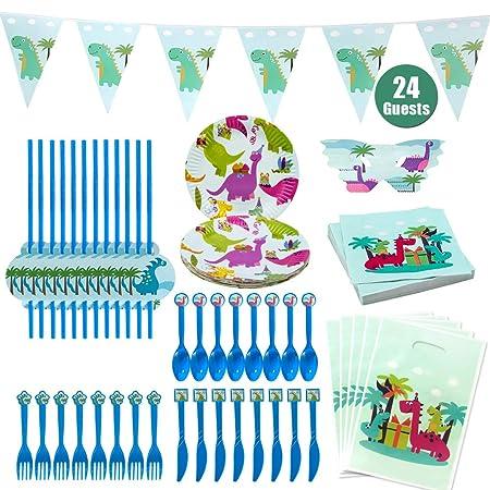 Hangnuo Dinosaurio Party Suministros para los niños cumpleaños-Servir 24 Invitados con Dino Platos, cucharas, Tenedores, Cuchillos, Paja, Bolsas de ...