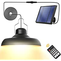 Solar Pendant Lights, Whousewe Solar Lights Outdoor IP65 Waterproof Solar Powered Shed Light Bright and Soft with Remote…