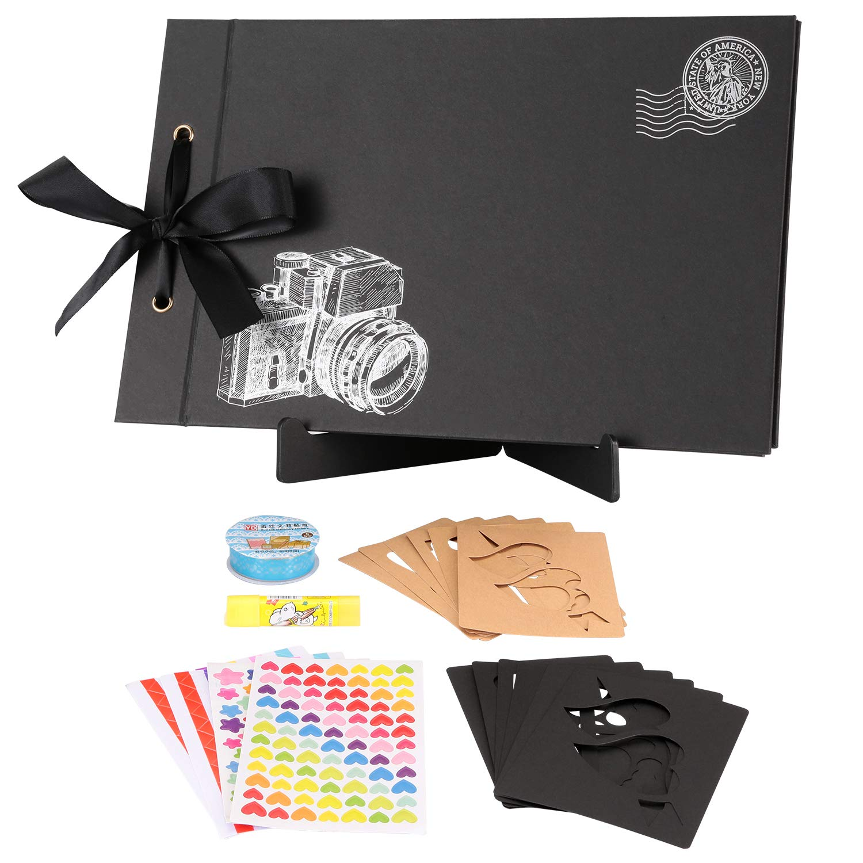 TEOYALL Scrapbook Photo Album 80 Pages 11.5x7.3 inch Personalized Scrapbook Memory Photo Album Wedding Guest Book DIY Anniversary Travel Scrapbook Kit (Camera#Black)