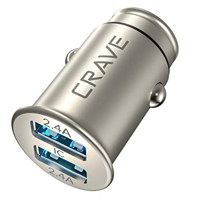 Crave Metal Car Charger [24W 4.8A 2 Port Dual USB] Zinc Alloy Universal Compact 12 Volt Charger, Smart Charge IC Technology: Home Audio & Theater