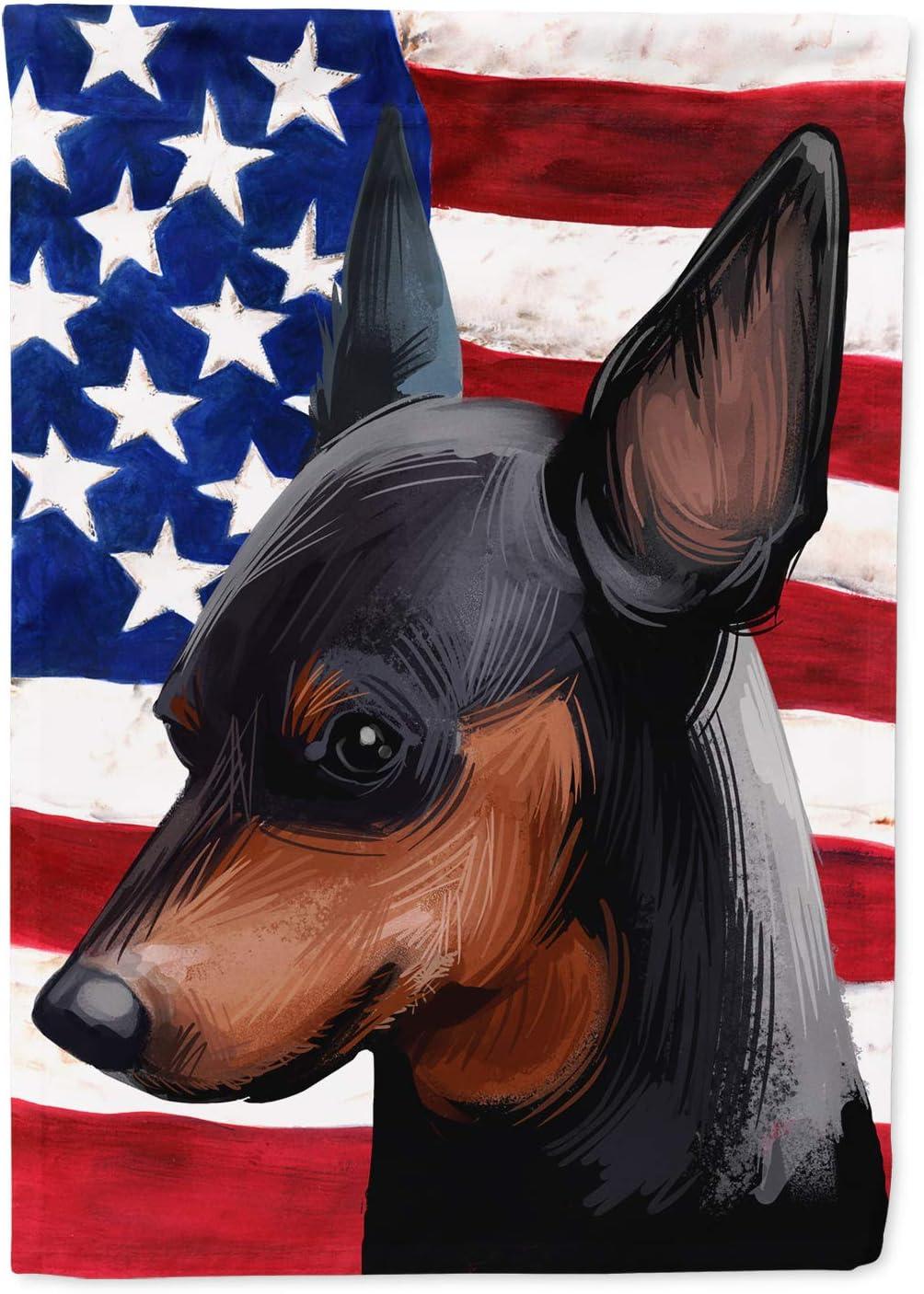 Caroline's Treasures CK6618GF Miniature Pinscher Dog American Flag Flag Garden Size, Small, Multicolor