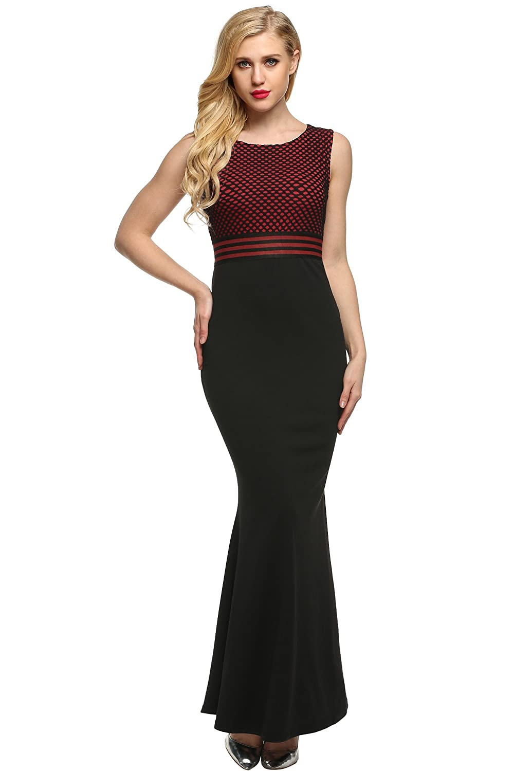 ANGVNS Evening Dress Sleeveless Lace Full Gown Floor-length Round Neck Party Dress