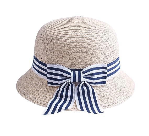 92f3833931643 KimmyKu Toddler Kids Childs Girl's Floppy Straw Sun Hat with Stripe Ribbon  BowKnote
