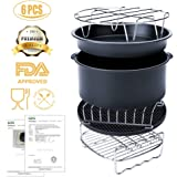 Air Fryer Accessories, Universal 6 Pieces Hot Air Fryer Accessories Kit Including Cake Barrel/Pizza Pan/Metal Holder/Skewer Rack/Bread Shelf/Silicone Mat for All Brands of Deep Fryers(3.2QT-5.8QT)