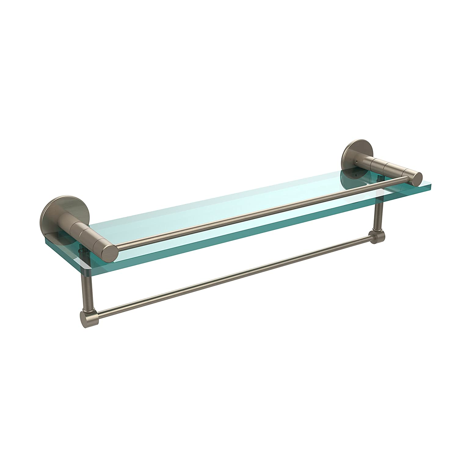 Allied Brass FR-1//22GTB-PEW Fresno Collection 22 Inch Glass Shelf with Vanity Rail and Integrated Towel Bar Antique Pewter