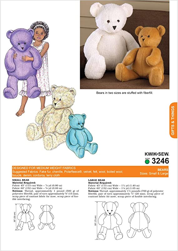 KWIK White Pack of 1 SEW PATTERNS K3246 Teddy Bears Size Large and Small