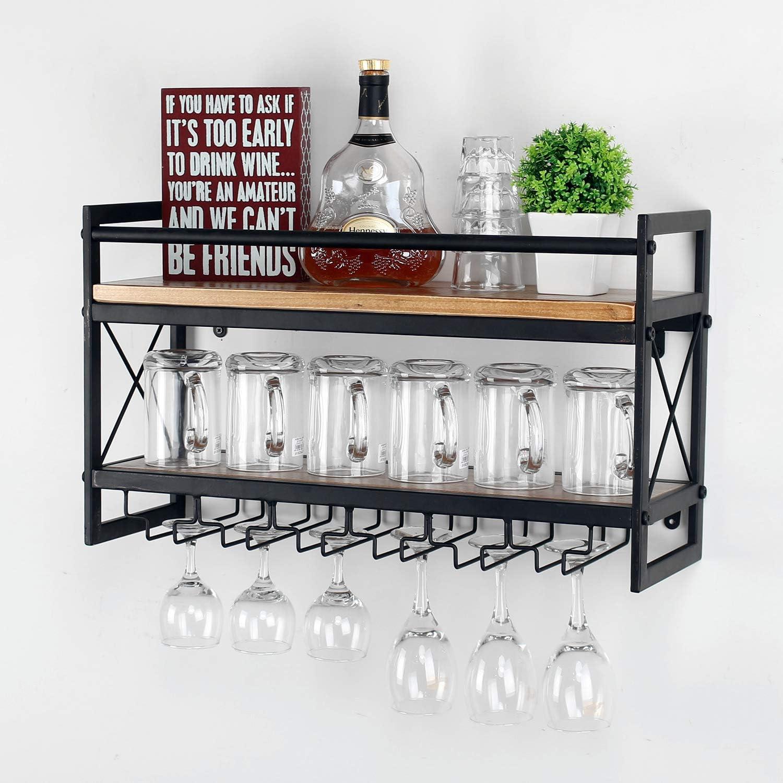 Womio Industrial 2-Tier Wall Mounted Wine Racks with 5 Glass Holder for Wine Glasses,Mugs,Home Decor,Metal and Wood Stemware Glass Rack,Stemware Racks,Black