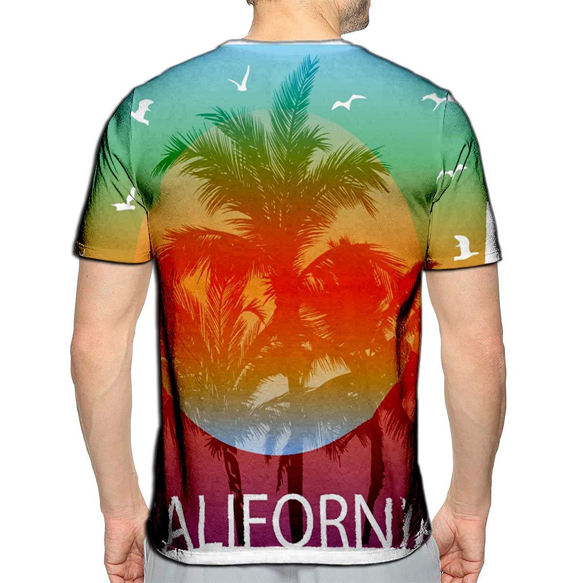 Randell 3D Printed T-Shirts California Summer Short Sleeve Tops Tees