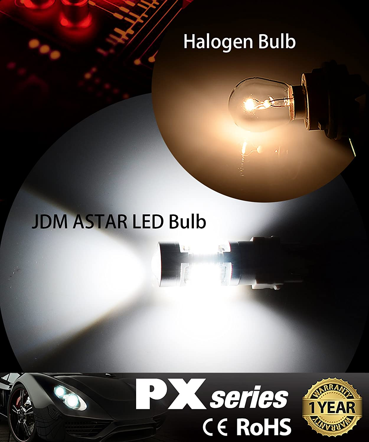 Xenon White 4336326517 JDM ASTAR 2520 Lumens Extremely Bright PX Chips H10 9140 9145 LED Fog Light Bulbs with Projector for DRL or Fog Lights