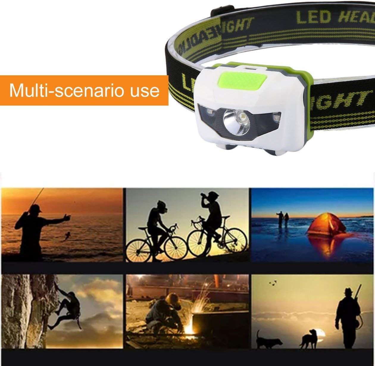 Couleur: Blanc et Vert HONGIGI LED Phare Lampe Phare Phare CE Camping Phare /à Induction /à Piles pour Le Camping randonn/ée p/êche en Plein air