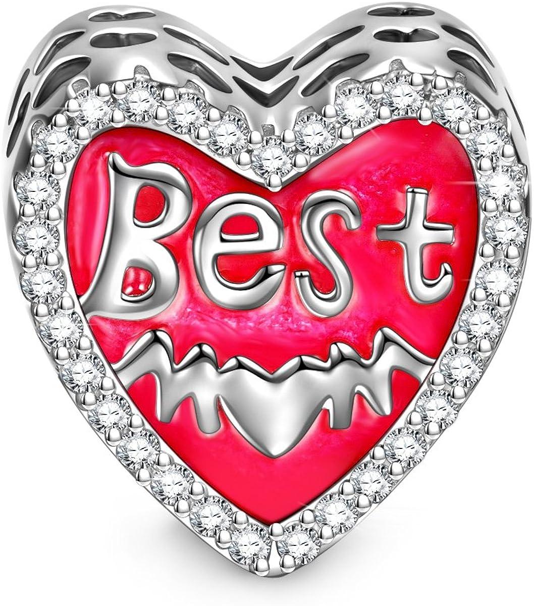 Esmalte Amor Mam/á Plata de Ley 925 NINAQUEEN/® Abalorios Charm Amor con Caja de Regalo