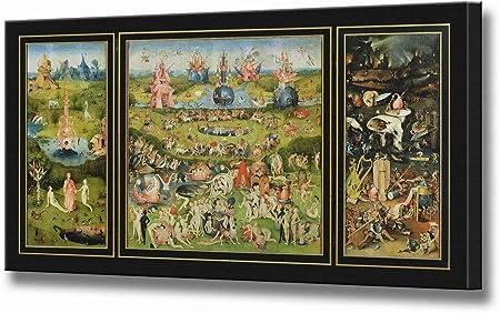 Jardín de las delicias impresión DE lienzo por Hieronymus Bosch Cuadro enmarcado de la pared listo para colgar la imagen estirada de alta calidad, 40 x 23 cm: Amazon.es: Hogar
