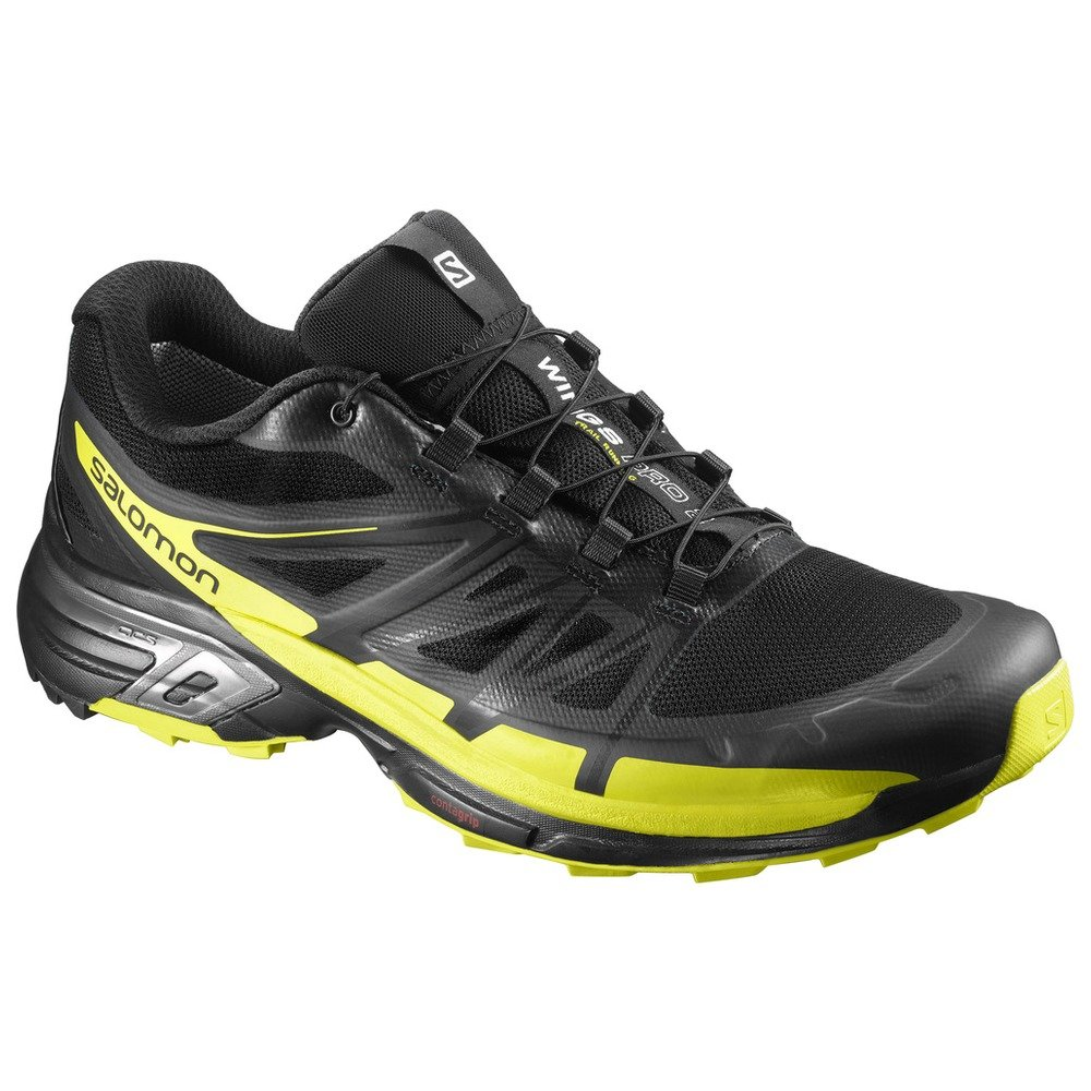 Salomon Wings Pro 2, Zapatillas de Running para Hombre 42 EU|Negro (Negro/(Black/Sulphur Spring/Black) 000)