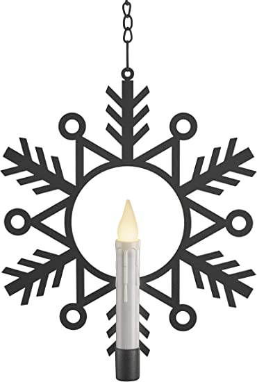Xodus Innovations Battery Powered Metal Window Wreath with Warm White LED Flameless Candle Light, Black and White, CW1500A