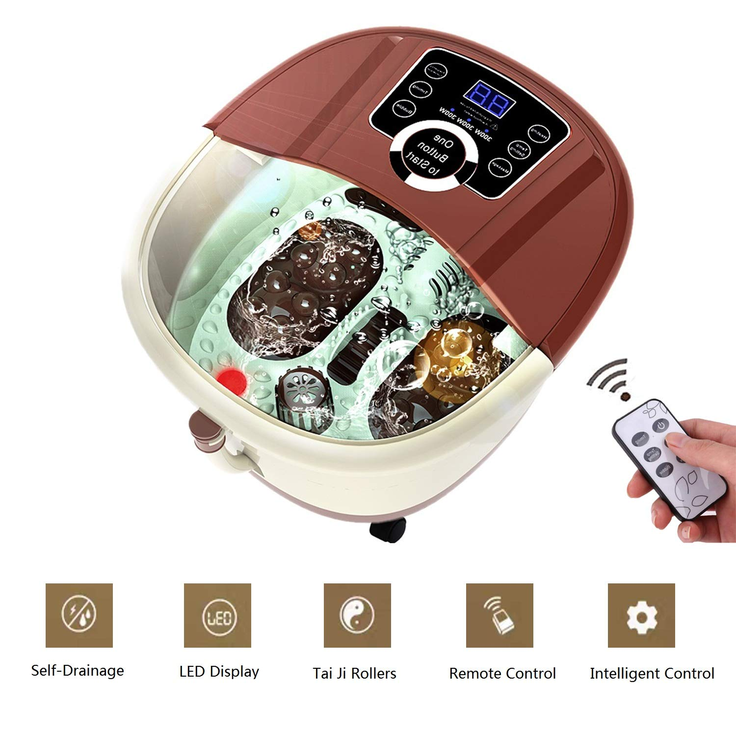 Electric Foot Spa Massage with Heating, Oxygen Bubbles and High-Frequency Vibration Massage, Foot Spa Machine Adjustable Time Temperature Brown