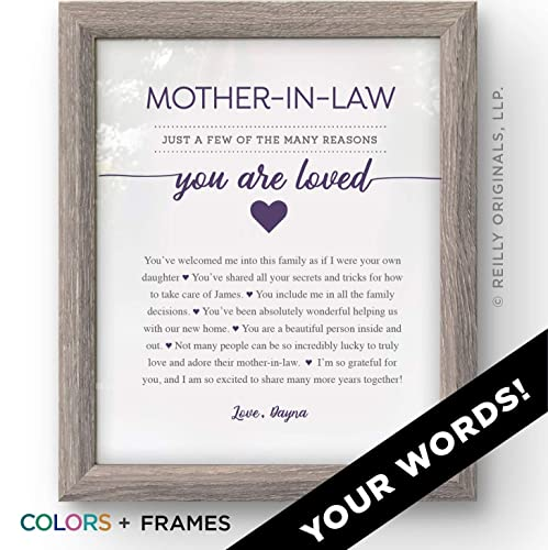 Personalized Mother In Law Gift Christmas Birthday Reasons Youre Loved The Best 1 Mom Mothers Day Grandma Grandmother Grandfather Cute