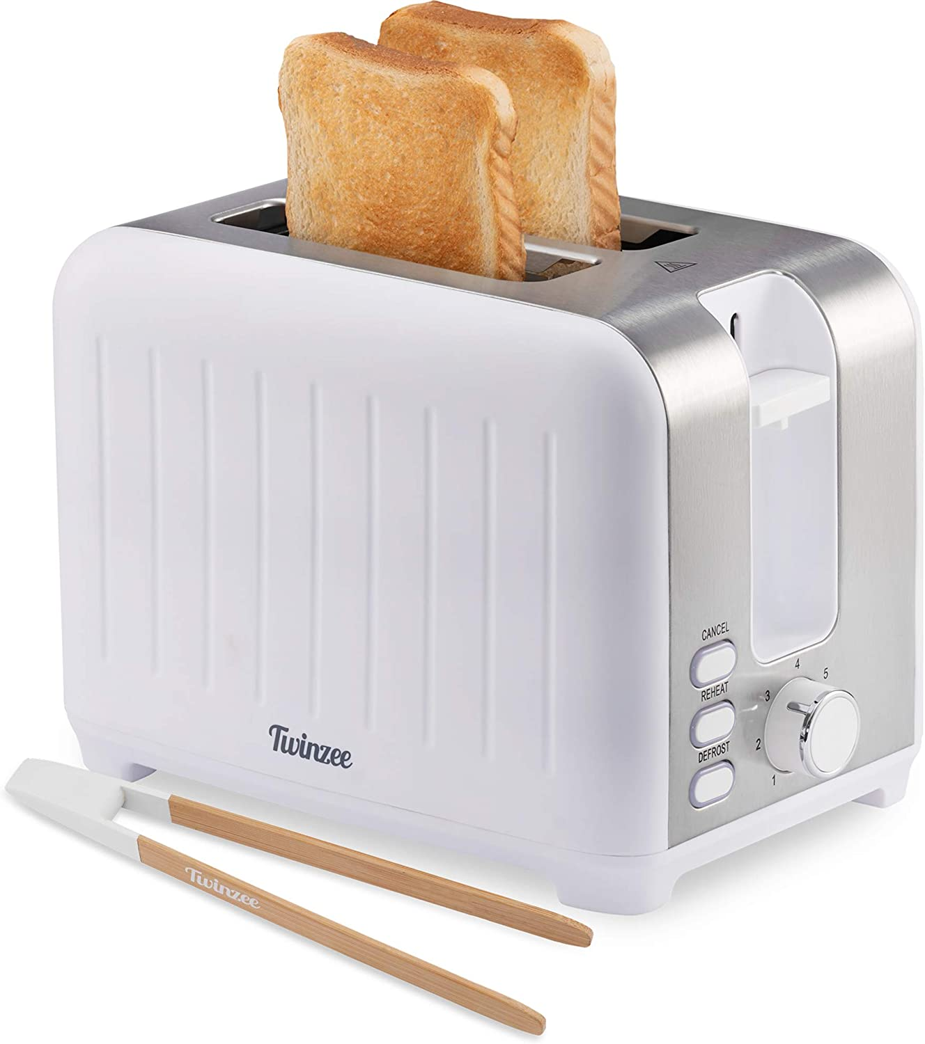 Twinzee Wide Slot Toaster 2 Slice - 3 in 1 Retro Toaster, Matte White and Stainless Steel - Small Toaster with Free Bamboo Tongs Clips and Crumb Tray - 7 Toasting Settings, 850W Toasters - Vintage Toster