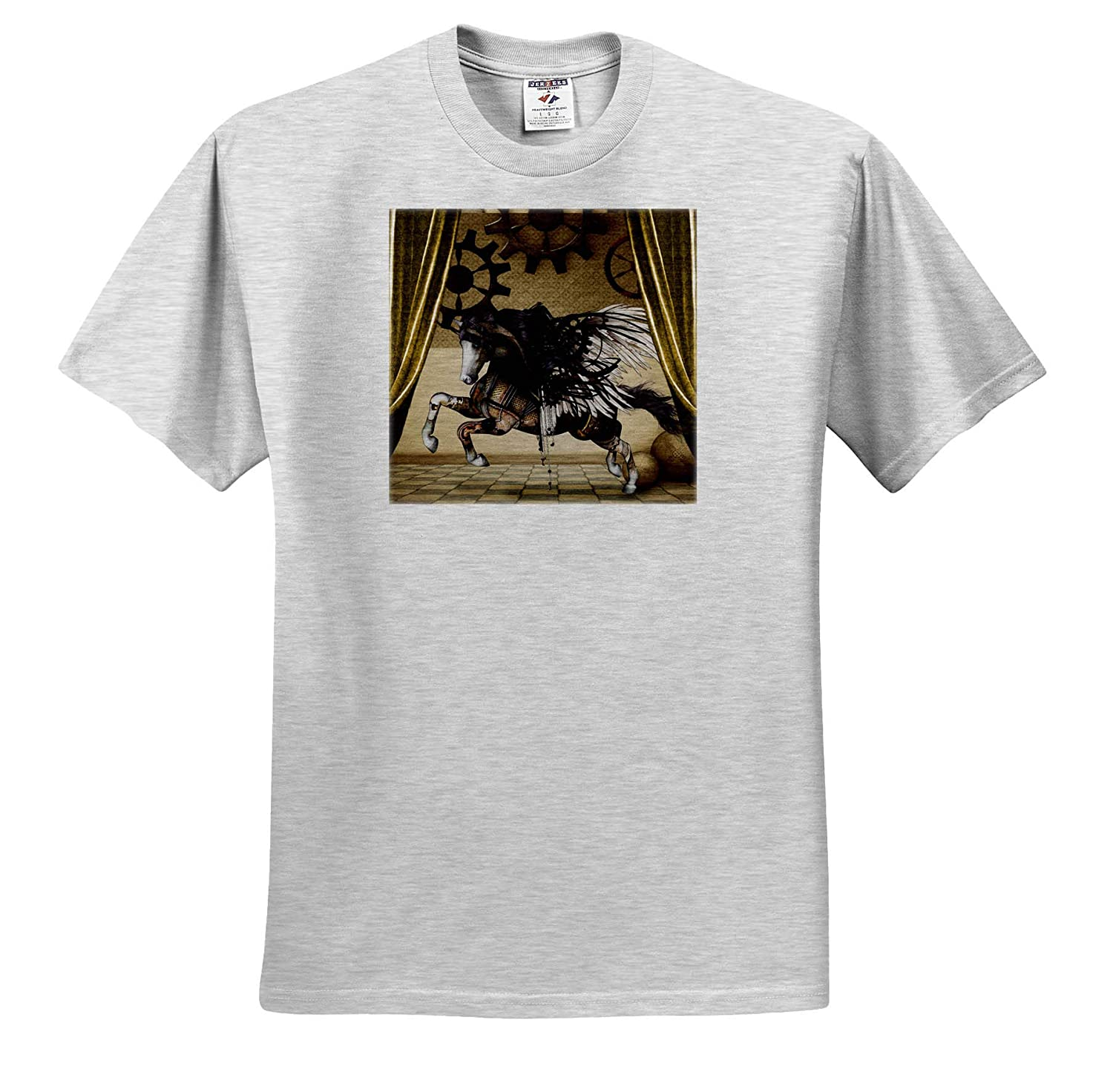 Adult T-Shirt XL ts/_310281 3dRose Heike K/öhnen Design Steampunk Wonderful Steampunk Horse with Wings