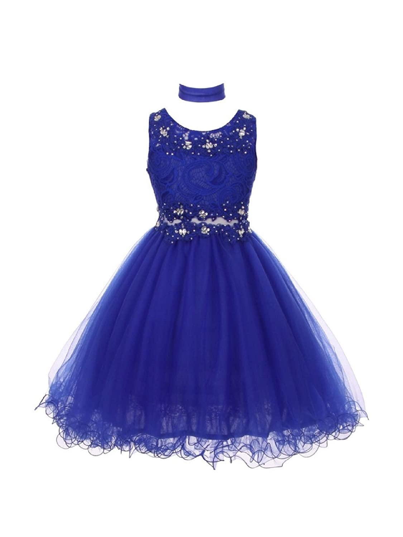 0ea3d4f97 Amazon.com: Big Girls Royal Blue Lace Mesh Rhinestone Wired Flower Girl  Dress 8-20: Clothing