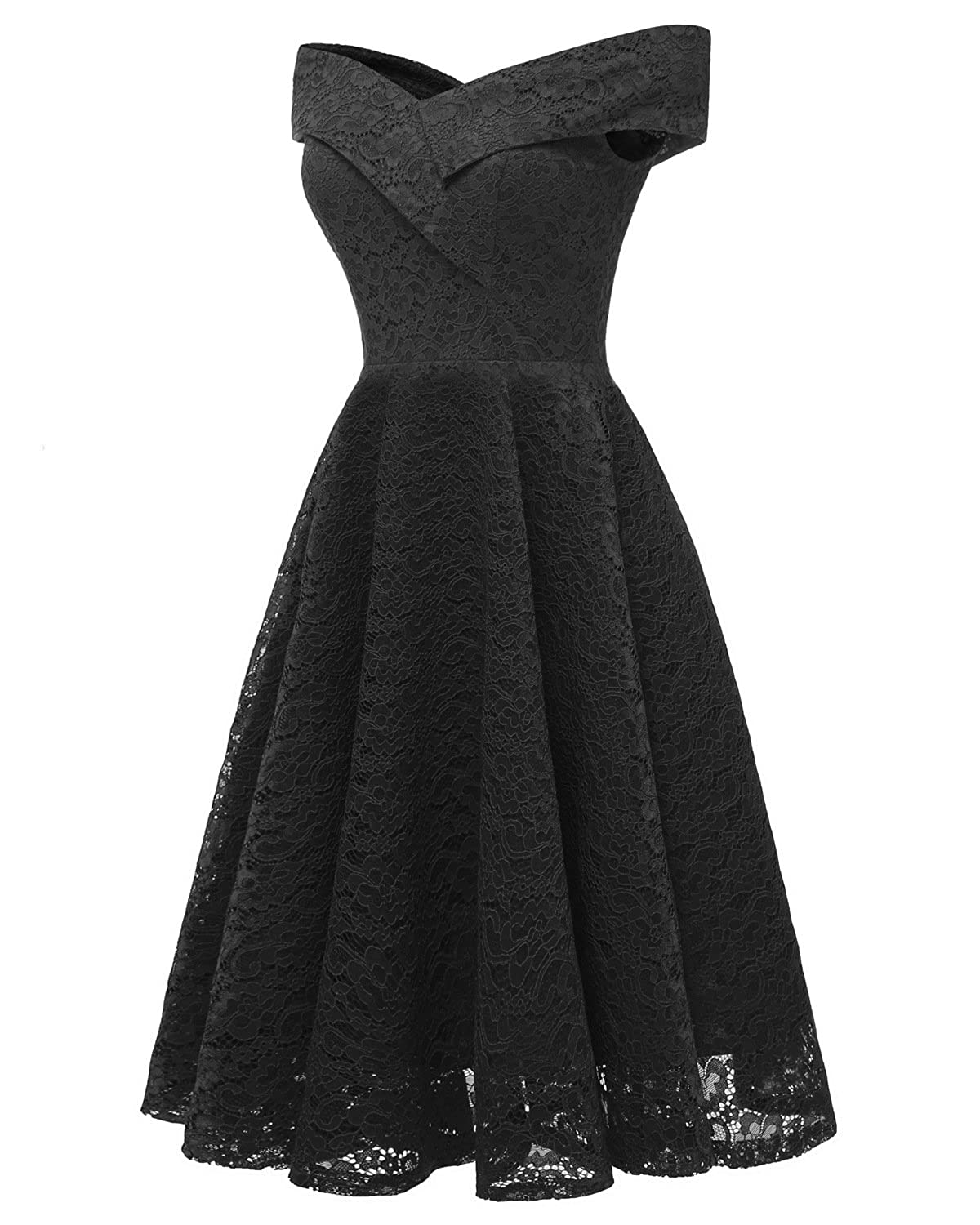 Swibe Womens Off Shoulder Dresses Vintage Lace Floral Bridesmaid Dress A-Line Cocktail Party Prom at Amazon Womens Clothing store: