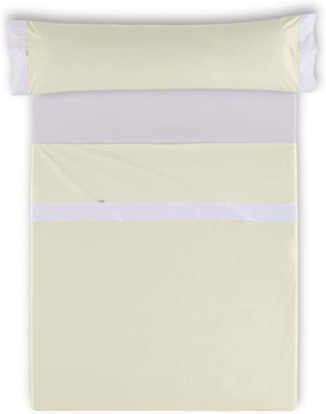 ESTELA - Juego de sábanas Lisos con Aplique Color Marfil-Blanco (3 ...