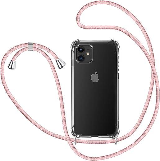 MICASE Funda con Cuerda para iPhone 11, Carcasa Transparente TPU Suave Silicona Case con Correa Colgante Ajustable Collar Correa de Cuello Cadena Cordón para iPhone 11 6.1'' - Oro Rosa