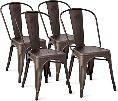 Costway Tolix Style Dining Chairs Metal Industrial Vintage Chic High Back Indoor Outdoor Dining Bistro Cafe Kitchen Side Stackable Chair Set Of 4 Copper Amazon Ca Home Kitchen