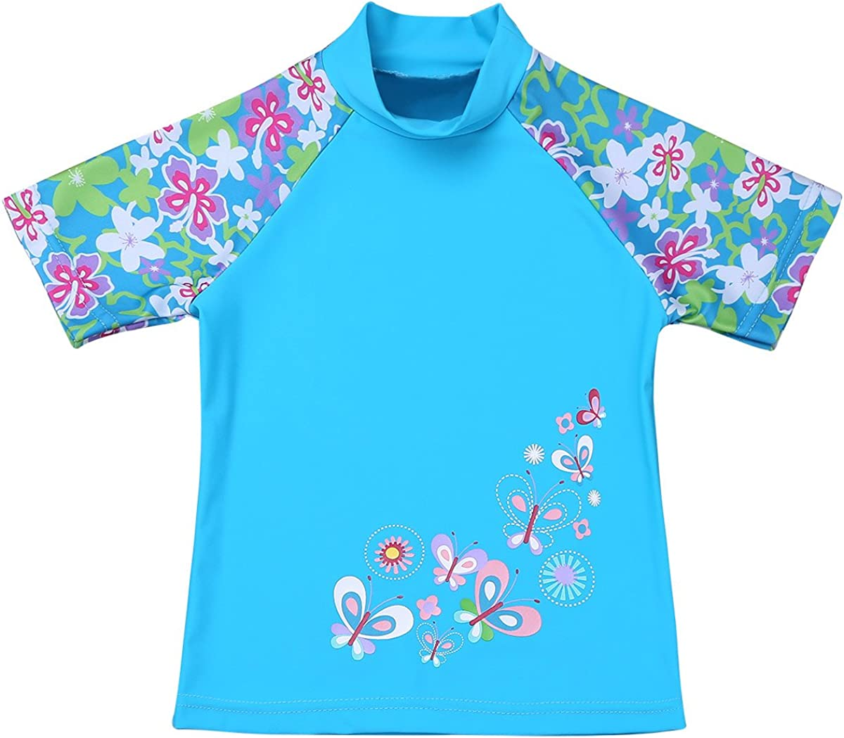 inlzdz Kids Girls Short Sleeves Floral Printed Tops with Bottoms Set Two Piece Swimwear Rash Guard Beachwear Tankini