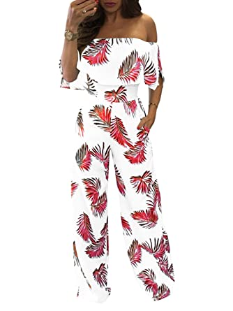 e6f2e8fcfb29 Glamaker Women s Sexy Off Shoulder Floral Print Ruffle High Waist Wide Leg  Jumpsuit Rompers Red