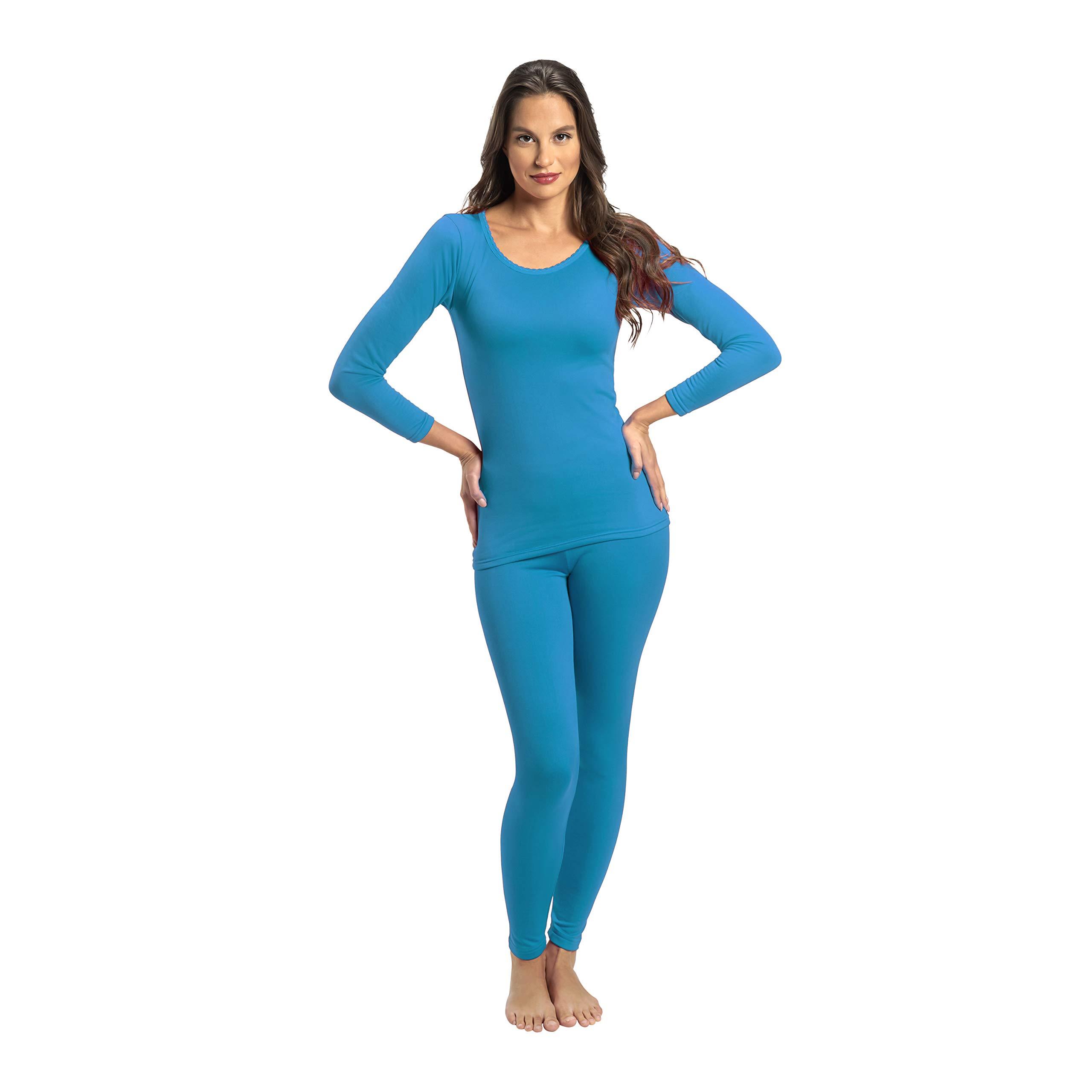 Rocky Women's 2 pc Ultra Soft Thermal Underwear, Top & Bottom Fleece Lined Long Johns (XLarge, Teal) by Rocky