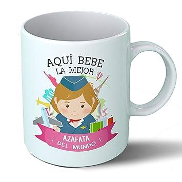 Planetacase Taza Desayuno Aquí Bebe la Mejor azafata del Mundo Regalo Original Ceramica 330 ML: Amazon.es: Hogar