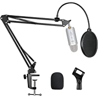 Pipishell Microphone Suspension Scissor Boom Bracket Stand with Pop Filter and Mic Holder