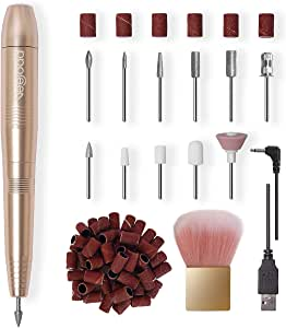 Veejoda Electric-Nail-Drill-Bits-Set, Portable Professional Efile Nail File Machine for Acrylic Nails Gel Nails Kit, 11 in 1 Nails File Set, Best Gifts for Women Girls (Gold)